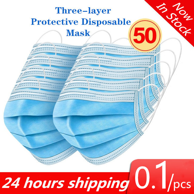 100pcs Mask Disposable Nonwove 3 Layer Ply Filter Mask mouth Face mask filter safe Breathable Protective masks Fast Shipping