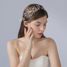 TRiXY H235 Golden Flower Bridal Hair Accessories  Bridal Crown Rhinestone Wedding Headband Wedding Hair Tiara Hair Jewelry
