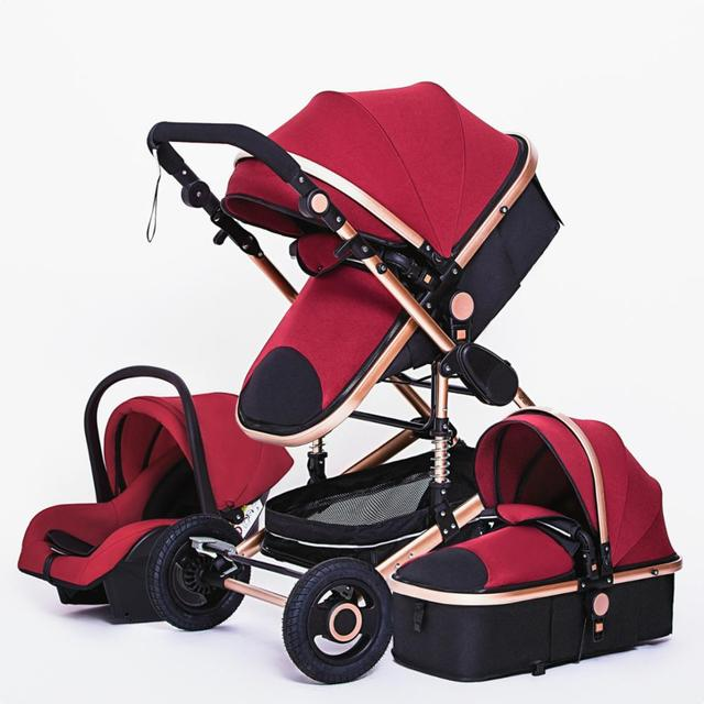 Luxuoso carrinho de bebê 3 em 1 genuíno portátil carrinho de bebê dobrável carrinho de bebê quadro de alumínio alta paisagem para o bebê recém-nascido 4
