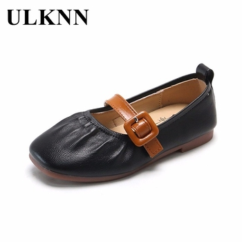 ULKNN Girls Flat Shoes Girls 2021 Spring New Soft-soled Princess Shoes Single Children Leather Peas Shoes Kids Black Shoe abckids new spring autumn girls soft leather shoes children girls princess bowknot sneakers single shoes kids dance shoes rubber