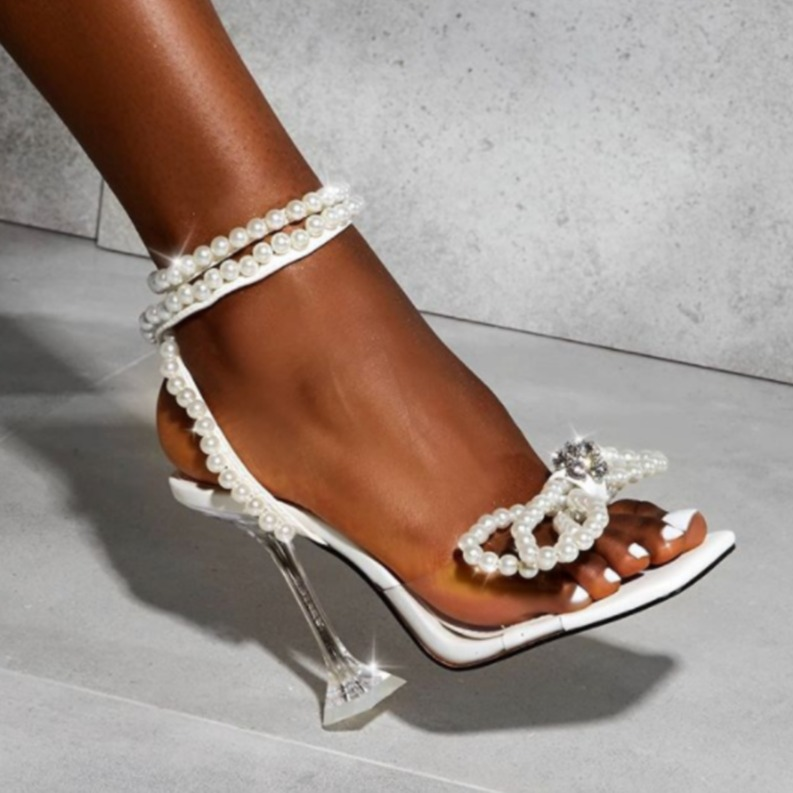 Women Sexy Sandals Woman Gladiator Ladies String Bead High Heels Ladies Party Dress Shoes Female Fashion Buckles Plus Size 42