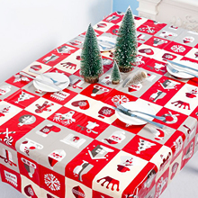 1pcs 110*180cm Christmas Table cloth Dinner Party New Year Printed Rectangle PVC Tablecloth Cover Decorations