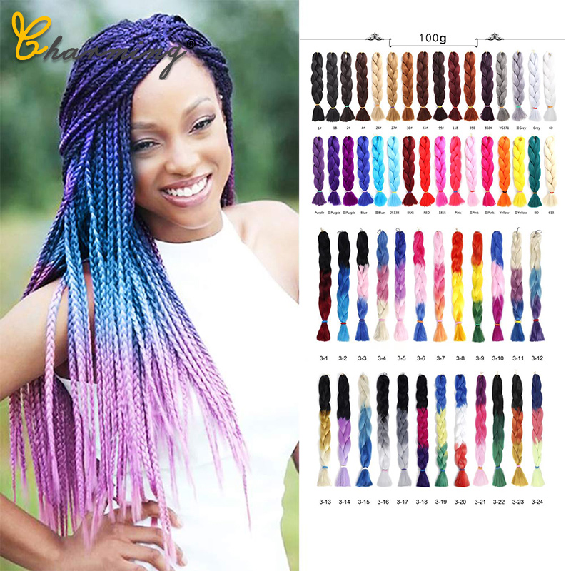 CHARMING 24 Inch Braiding Hair Extensions Jumbo Crochet Braids Synthetic Hair Style 100g/Pc Pure Blonde Pink Green Colorful