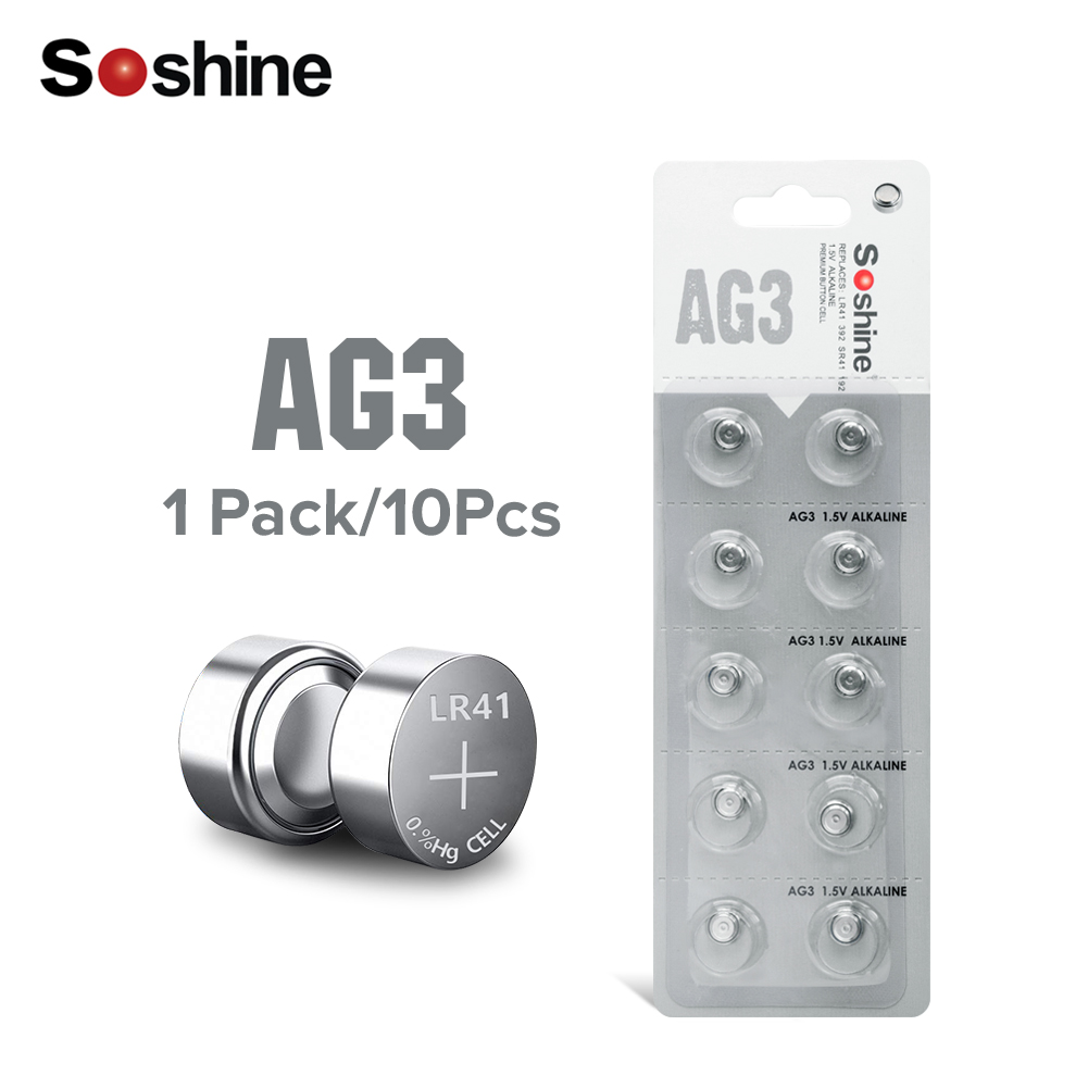 Soshine AG3 LR41 392 SR41 192 1.5V Alkaline Button Cell Battery Toys <font><b>Watch</b></font> <font><b>x10</b></font> For LED Lights Toys <font><b>Watch</b></font> image