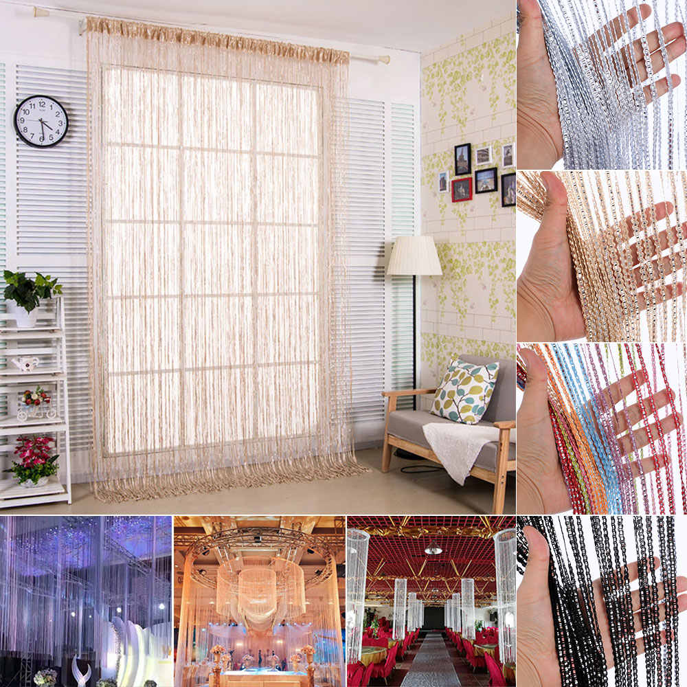 100x200cm String Curtain Shiny Tassel Line Curtains Window Door Divider Drape Living Room Decor Valance Home Decoration