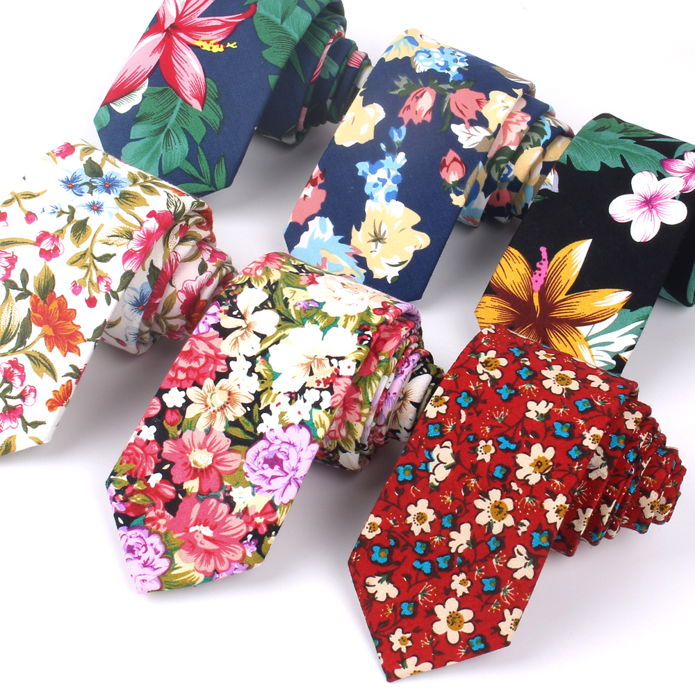Floral Ties For Men Printed Cotton Tie Mens Ties 6cm Slim Neck Tie Skinny Necktie For Wedding Party