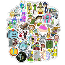 50pcs Rick and Morty Sticker Cosplay Prop Accessories PVC Waterproof Cartoon Anime Stickers for Guitar Suitcase Computer
