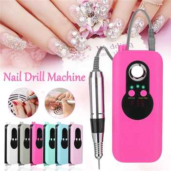 EU Plug 25W Professional Electric Nail Drill Pen Handle File Polish Grind Machine Portable Rechargeable Manicure Pedicure Tool