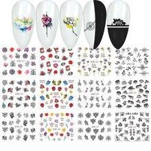 12 スタイルネイルステッカー水転写黒花中空水彩花デザインスライダーネイルアートラップマニキュア装飾タトゥー