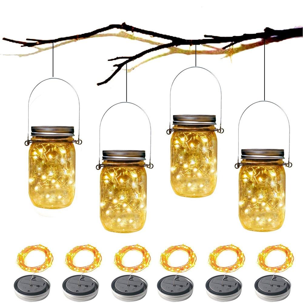 Solar Fairy Cap Light With Handles Mason Jar Lid Lamp Copper Wire String Lights Outdoor Garden Christmas Wedding Party Decor