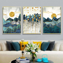 Wall Art Canvas Print Modern Abstract Painting Golden Sun Geometric Mountain Landscape Art Poster Wall Picture for Living Room