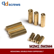 M2M2.5M3M4 Hollow Copper six angle isolation column with internal thread Column with Hexagonal Double-pass Copper bolt YJT 1046 цены