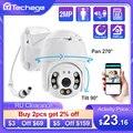 Techage 5MP безопасности POE IP Камера 1080P POE IP PTZ купольная камера видео Камера открытый Ai человека обнаружения двухстороннее аудио 2MP Камера XMEye TF к...