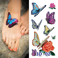 Waterproof Temporary Tattoo Sticker Small Fashion Butterfly Flower Man Women Children Fake Tatoo Stickers Body Art Leg Arm Belly