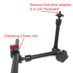 """Image 2 - Jadkinsta 11"""" Inch Articulating Magic Arm + 15mm Rod Clamp + Large Super Clamp Large Crab Pliers Clip HDMI Monitor LED Light"""
