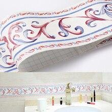 Tile Wall Sticker PVC DIY Self Adhesive Waterproof Wallpaper Border Skirting Line Sticker Home Decor for Kitchen Bathroom
