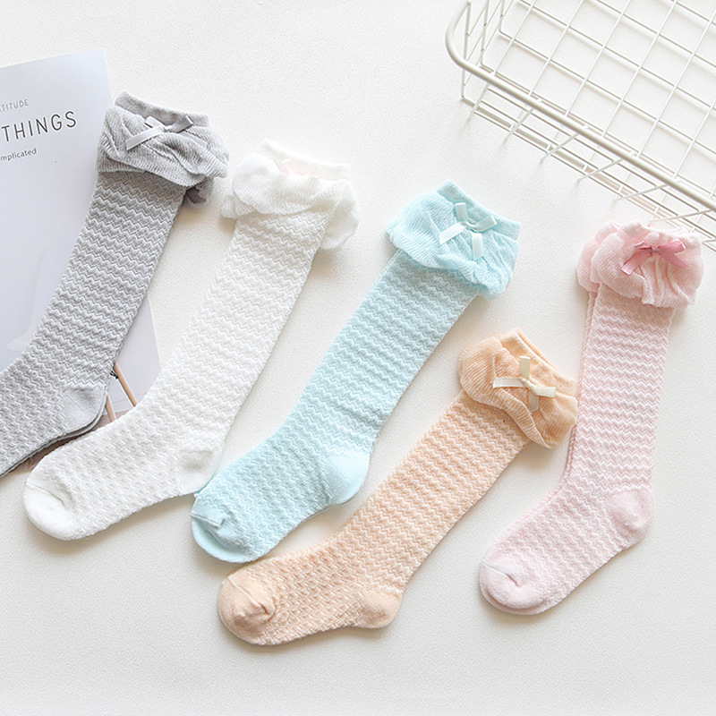 Summer Mesh Thin Cotton Breathable Baby Socks Bow Girls Hose Babies' Socks Anti-mosquito Boots  0-1-3-Year-Old