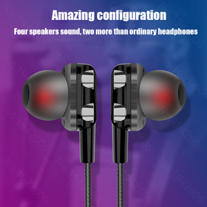 Image 3 - 스마트 폰용 헤드폰 xiaomi samsung honor 용 micriphone 헤드폰이 장착 된 bass 쿼드 코어 이중 다이나믹 이어폰