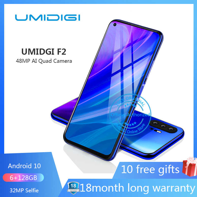 "UMIDIGI F2 6.53 ""FHD + 6GB 128GB version globale Android 10 32MP Selfie Helio P70 48MP AI Quad caméra téléphone portable 5150mAh NFC"