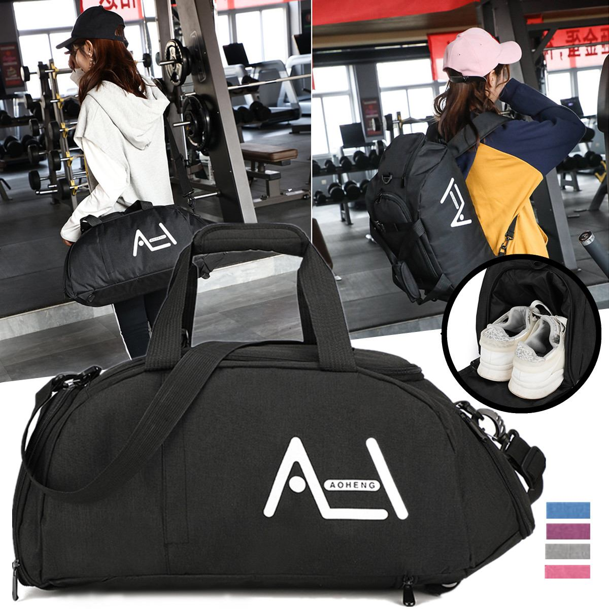 2019 bolsas de lona de viaje para hombres multifunción impermeable Nylon Deporte Fitness bolsa para mujeres hombre Tote bolsa de gimnasio de fin de semana de gran capacidad