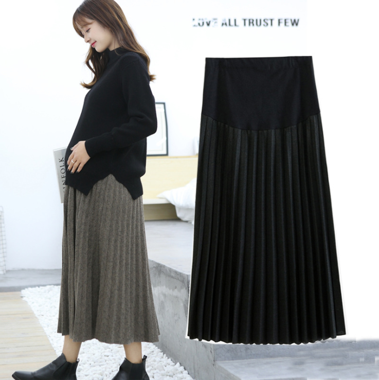 A Line Pleated Maternity Skirts High Waist Adjustable Belly Loose Skirts Clothes For Pregnant Women Autumn Winter Pregnancy