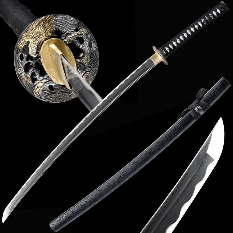 Full Tang Katana Japanese Samurai Swords Folded Steel Blade Handmade Sharp Edge Black Color Light Wooden Sheath