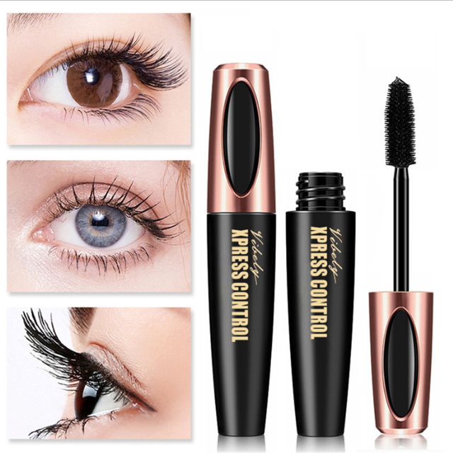 Waterproof 4D Silk Fiber Eyelash Thick Lengthening Black Mascara Fashion Sexy Makeup Cosmetics Eye Lash Extension Cream