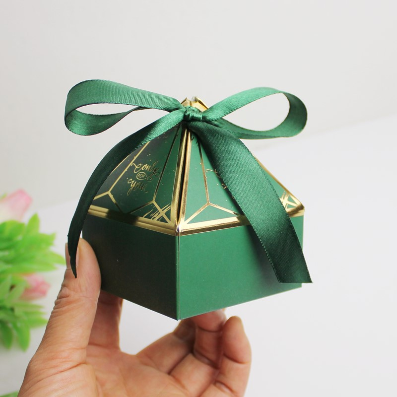 New Green Paper Gift Box For Baby Shower Candy Boxes Package Birthday Party Wedding Decorations Kids Favors Packaging Bags