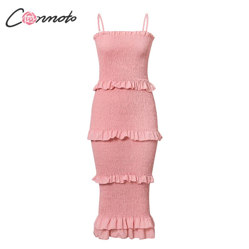 Image 5 - Conmoto ruffles bodycon summer dress women spaghetti strap beach plus size dresses long dress vestidosDresses   -