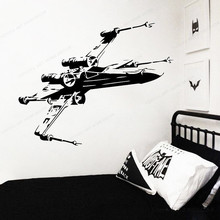 Star Wars Vinyl wall Sticker  X-Wing Fighter Spaceship Wall Decal  removable wall art mural JH378 star wars vinyl wall sticker kids room wall decal game play room wall decor removable wall art mural jh363