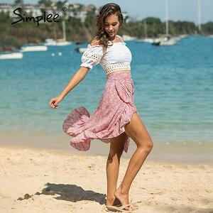Image 3 - Simplee Elegant ruffled bow tie midi skirt women High waist casual streetwear female wrap skirts Autumn ladies vintage skirts