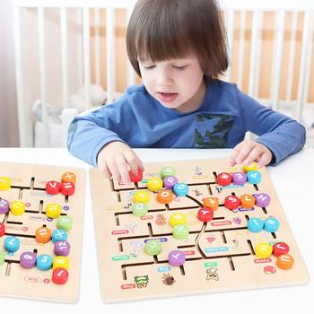 Kids ABC Alphabet Game Toddlers Wooden Puzzle Learning Toys For Early Developmental Activity Motor Skills And Color Recognition image