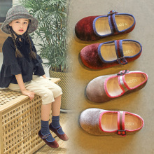 AAdct Spring Autumn little girls shoes Velvet soft sole Flats princess