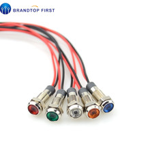 1 adet 6mm LED Metal gösterge ışığı 6mm su geçirmez sinyal lambası 3V 6V 12V 24V 220v tel ile kırmızı sarı mavi yeşil beyaz