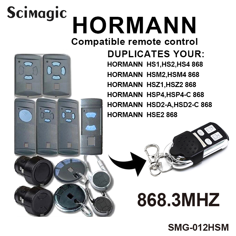 Clone 4 Channel Hormann HSM4 868MHz Garage Gate Door Opener Compatible With Hormann HSM2 HSM4 868MHz Remote Control Command