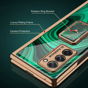 Image 4 - Finger Ring Bracket Case for Samsung Galaxy Z Fold 2 5G Case Plating Hard Glass Protective Cover for Galaxy Z Fold2 5G