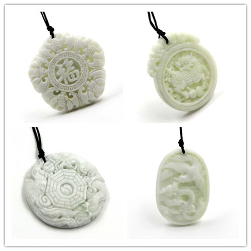Natural White Jade Dragon  Pendant Guanyin Necklace Charm Jewellery Fashion Accessories Hand-carved Man Woman Lucky Amulet