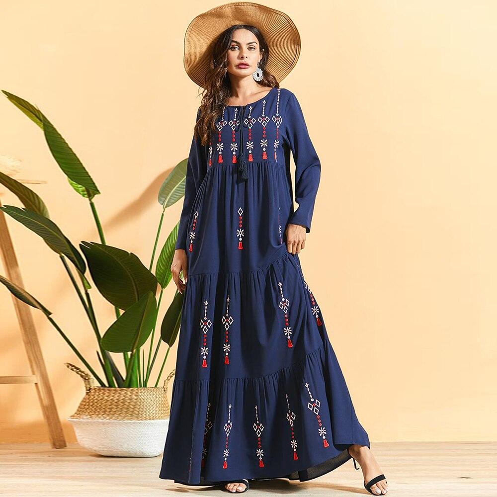 Siskakia plissé brodé bohème Robe longue mode arabe musulman femmes Maxi Robe à manches longues balançoire vêtements ethniques