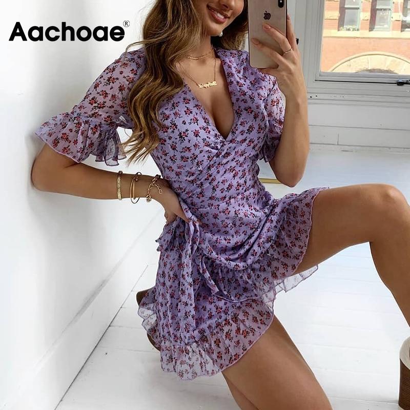 Aachoae Bohemian Summer Beach Chiffon Mini Dress Women V Neck Floral Print Wrap Dresses Short Sleeve Ruffle Party Dress Sundress