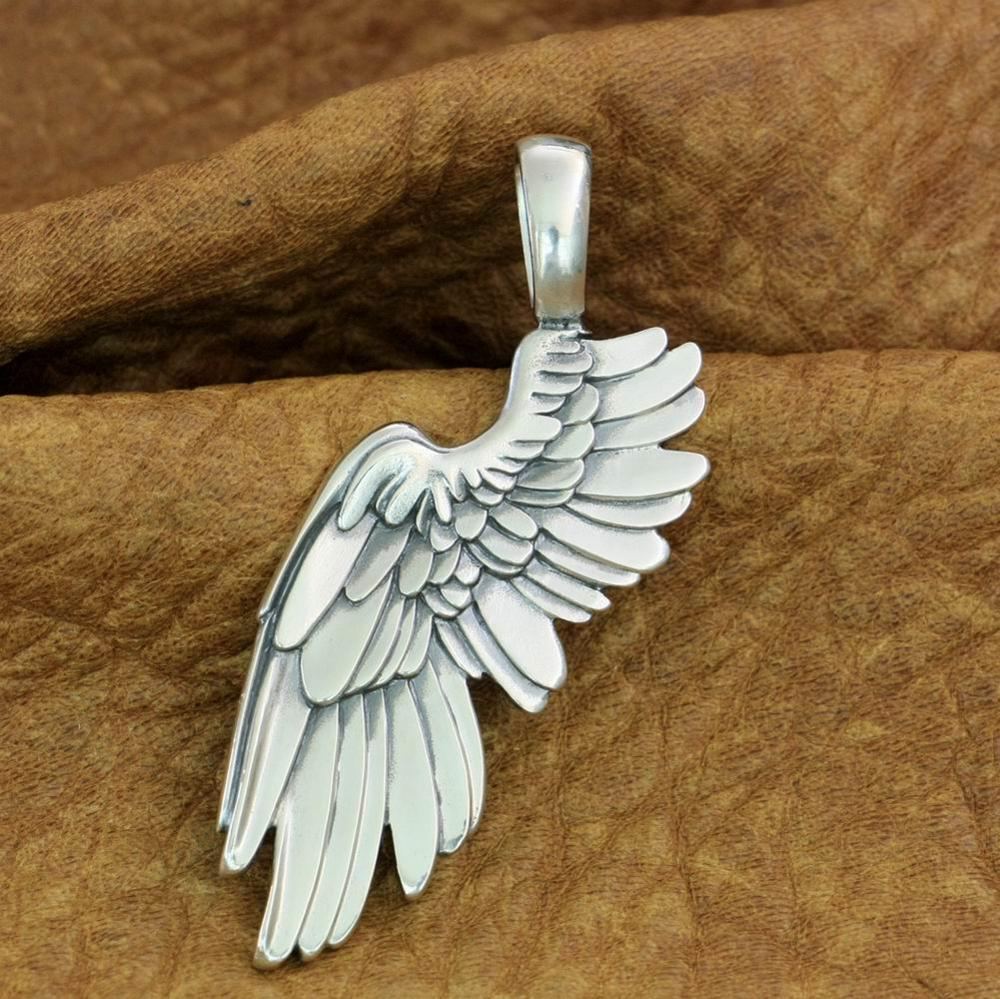 925 Sterling Silver Huge Angel Wing Pendant 2-Sides Biker Punk Pendant TA212