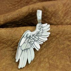 925 Sterling Zilver Enorme Angel Wing Hanger 2-Kanten Biker Punk Hanger TA212
