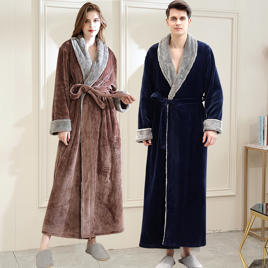 Women Winter Super Long Warm Flannel Bathrobe Plus Size Lovers Fur Pink Bath Robe Bride Soft Night Dressing Gown Men Sleepwear