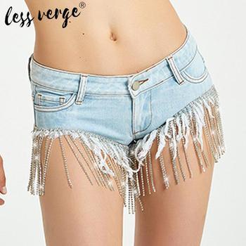 Crystal tassel fringe high waist blue denim shorts Women summer sexy bodycon hot jeans short Female casual streetwear
