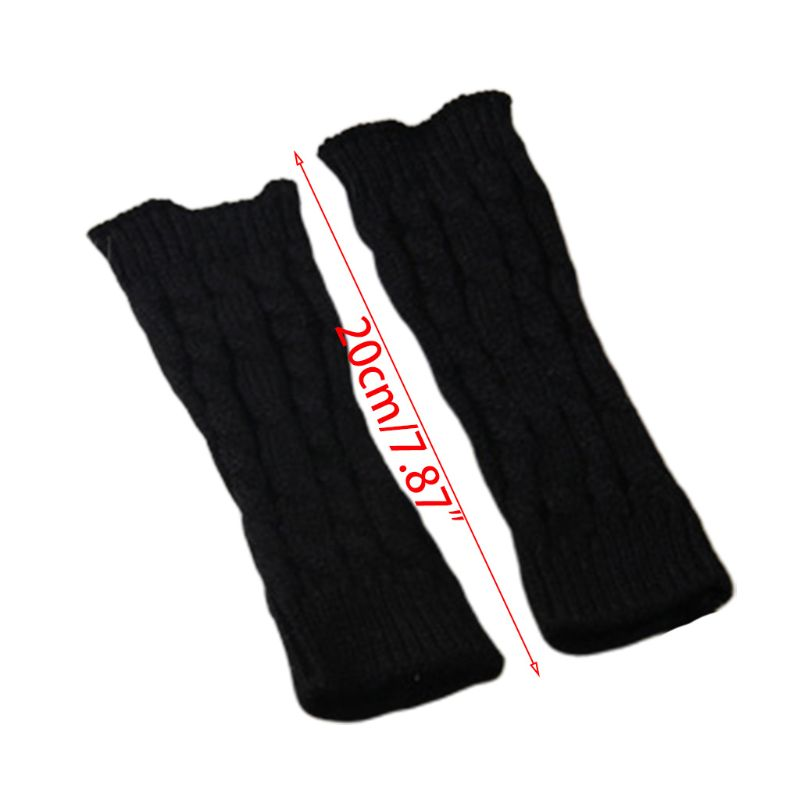 Women Winter Knitted Arm Sleeve Gloves Weaved Braid Solid Fingerless Mittens New