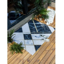 Nordic marble style Entrance hall carpet PVC wire loop mat INS geometric Door Living room floor bathroom non-slip rug