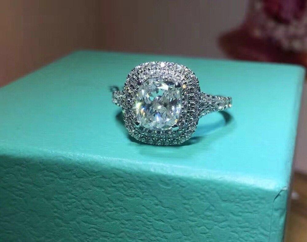 TR523 luxe qualité NSCD synthétique gemme 2 carats coussin coupe fiançailles bague de mariage pour les femmes
