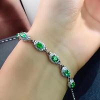 Qi Xuan_Trendy Jewelry_Colombia Green Stone Fashion Bracelets_S925 Solid Silver Green Bracelet_factory Directly Sales