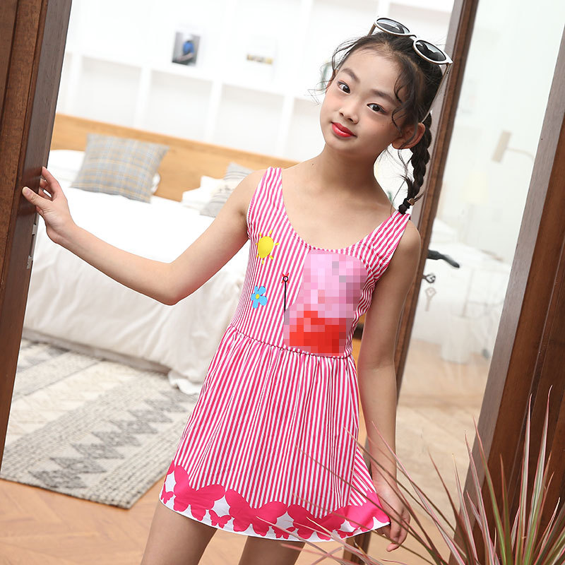 Primary School STUDENT'S Dress-Boxer Conservative Belly Covering Slimming Navy Stripes Girls Big Boy GIRL'S Swimming Suit