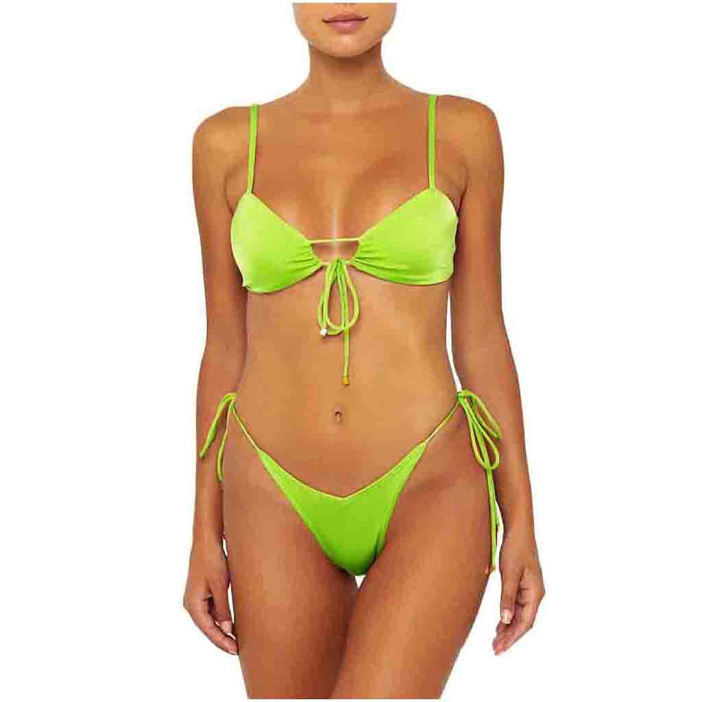 Summer Women's Hot Sexy Split Bathing Suit Solid Color Underwear Set Push Up Padded Female Intimates High Quality Traje De Baño