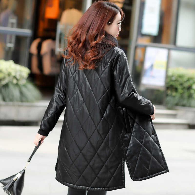 Plus Größe 5XL Winter Pu Leder Jacke Frauen Windjacke Warme Dicke Lose Lange Faux Leder Jacke Casaco Feminino 1987